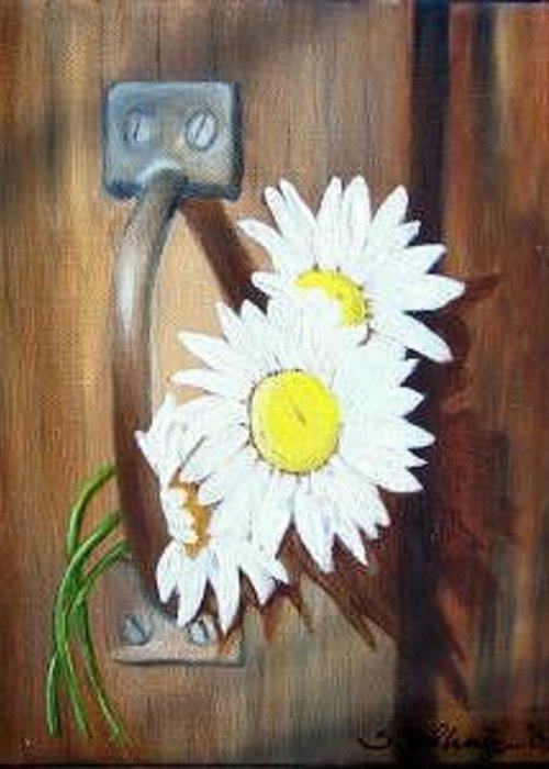 Rustic Barn Door With Metal Latch And Three White Daisies Greeting Card featuring the painting Barn Door Daisies Sold by Susan Dehlinger