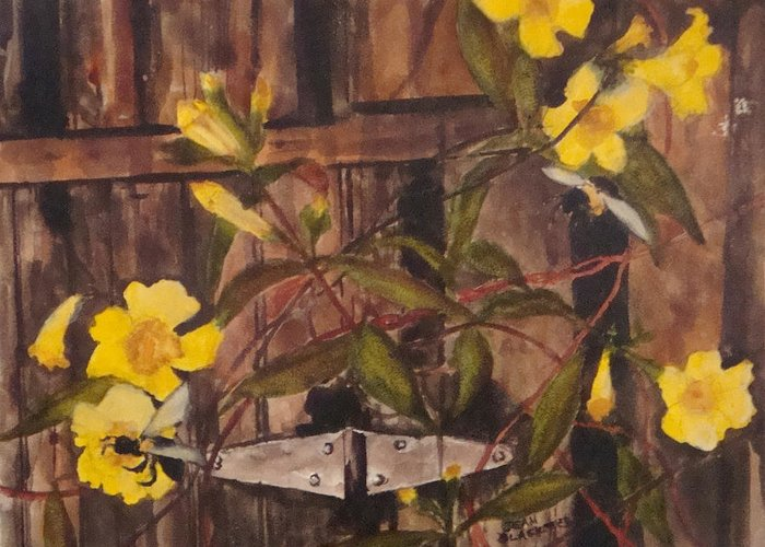 Flower Greeting Card featuring the painting Barn Door Hinge by Jean Blackmer