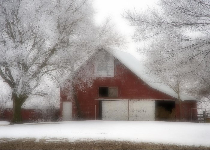 Kansas Greeting Card featuring the photograph Barn Fog And Hoarfrost by Fred Lassmann