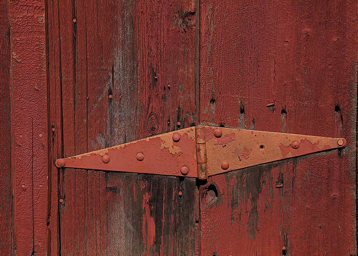 Red Door Henge Greeting Card featuring the photograph Barn Hinge by Garry Gay