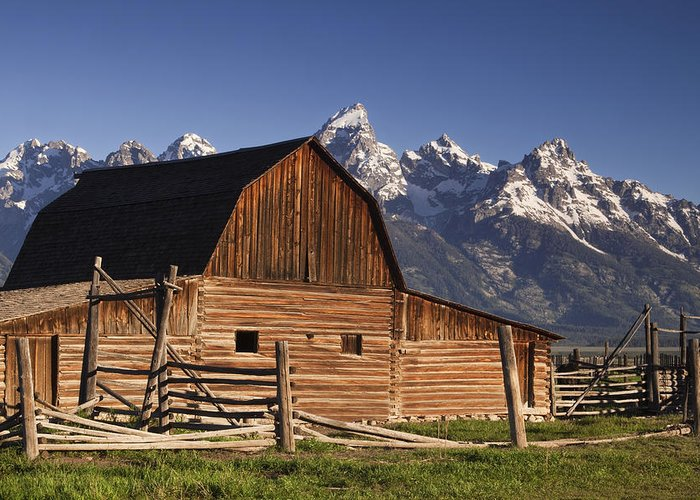 Teton Greeting Card featuring the photograph Barn In The Mountains by Andrew Soundarajan