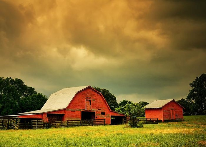 Red Greeting Card featuring the photograph Barn in the USA, South Carolina by Zayne Diamond Photographic