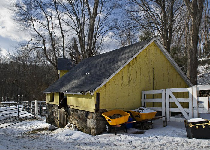 Horse Greeting Card featuring the photograph Barn In Winter by Jack Goldberg