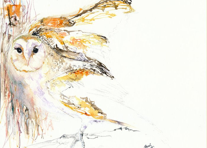 Owl Greeting Card featuring the painting Barn Owl And Tree by Beverly Bronson