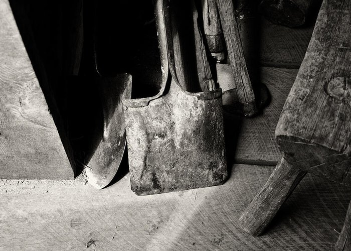 Shovels Greeting Card featuring the photograph Barn Tools by Wilma Birdwell