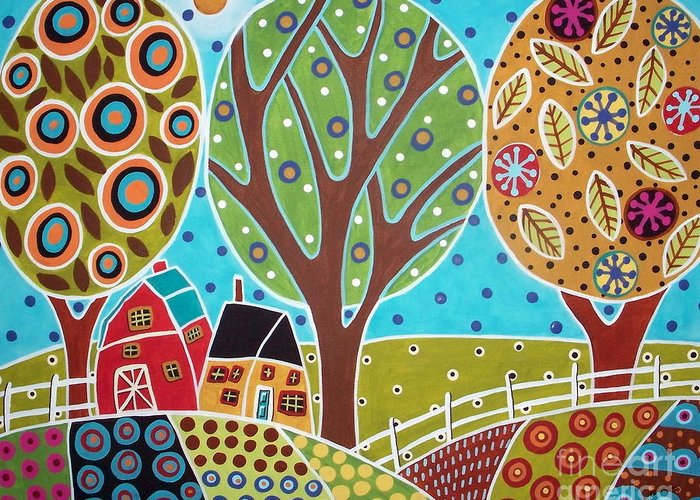 Landscape Greeting Card featuring the painting Barn Trees And Garden by Karla Gerard