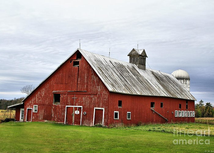 Barn Greeting Card featuring the photograph Barn With A Cross by Deborah Benoit