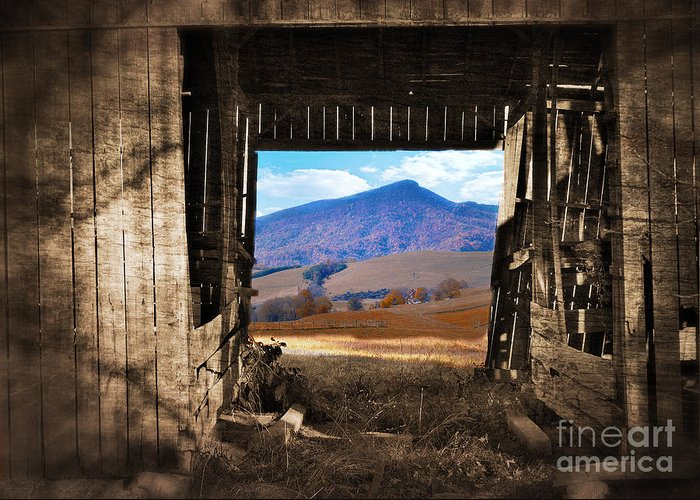 Barn Greeting Card featuring the photograph Barn With A View by Kathy Jennings