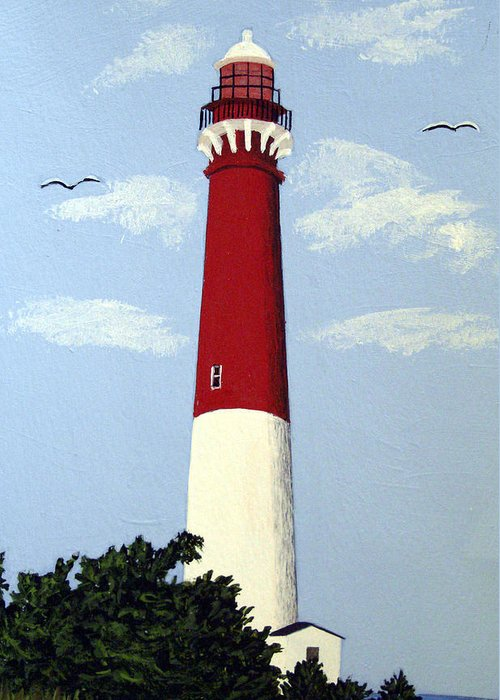 Lighthouse Paintings Greeting Card featuring the painting Barnegat Lighthouse by Frederic Kohli
