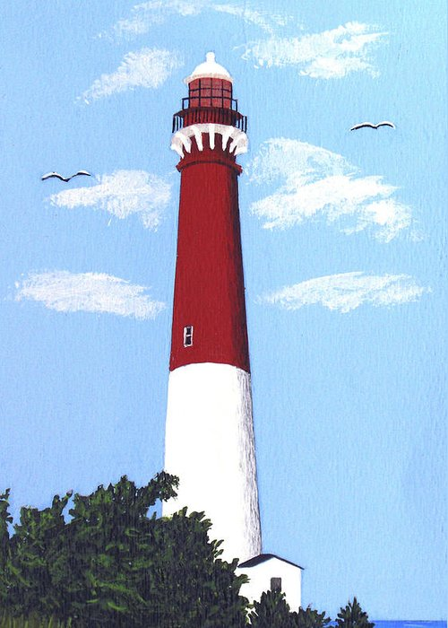 Lighthouse Greeting Card featuring the painting Barnegat Lighthouse Painting by Frederic Kohli