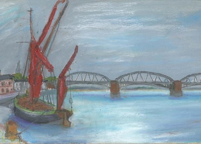 Landscape Greeting Card featuring the painting Barnes Bridge by Bernard Victor
