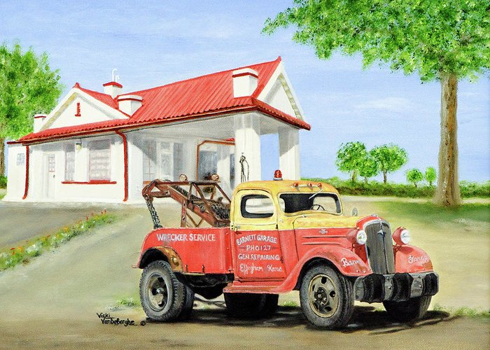 1936 Chevrolet Truck Greeting Card featuring the painting Barnett Garage by Vicki VanDeBerghe