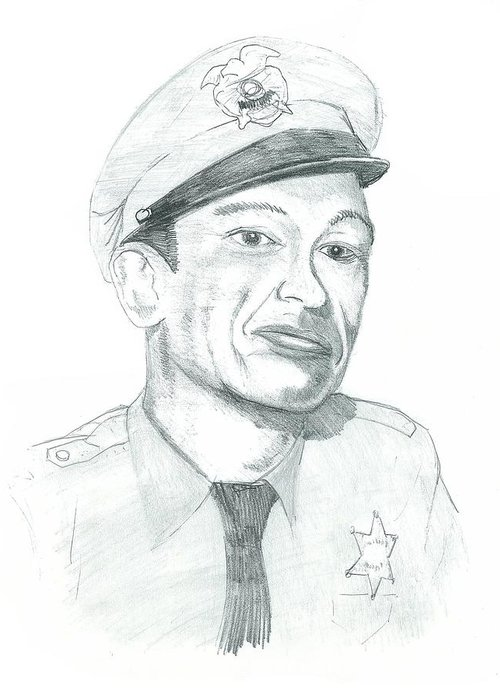 Barney Greeting Card featuring the drawing Barney Fife by Thomas Elliott