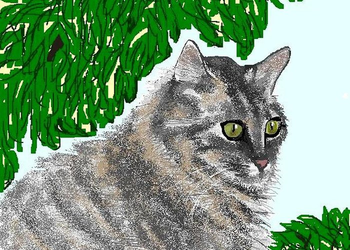 Cat Greeting Card featuring the digital art Barnstable by Carole Boyd