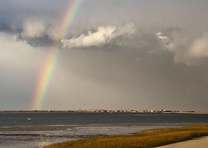 Rainbow Greeting Card featuring the photograph Barnstable Harbor Rainbow by Charles Harden