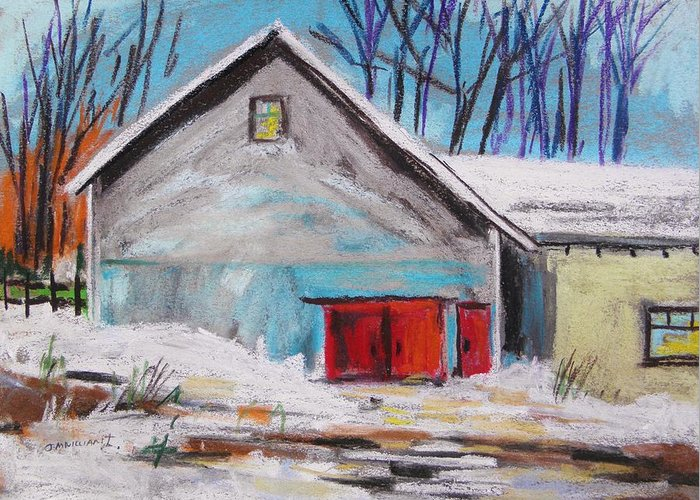 Original Greeting Card featuring the painting Barnyard In Winter by John Williams