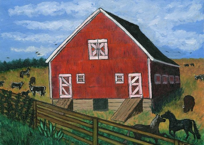 Big Red Barn Surrounded By Horses Greeting Card featuring the painting Barnyard on the Prairie by Tanna Lee M Wells