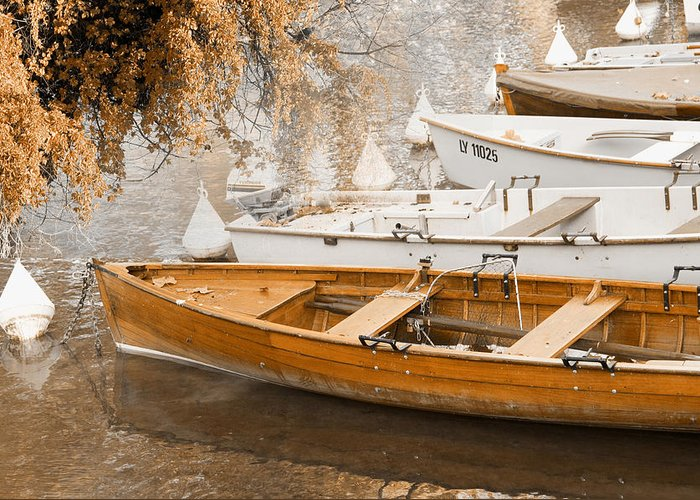 Nautical Greeting Card featuring the photograph Barque Automne by Mary Mansey