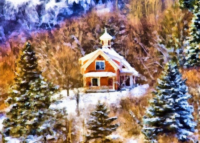 Winter Scene Greeting Card featuring the digital art Barre House by Jim Proctor