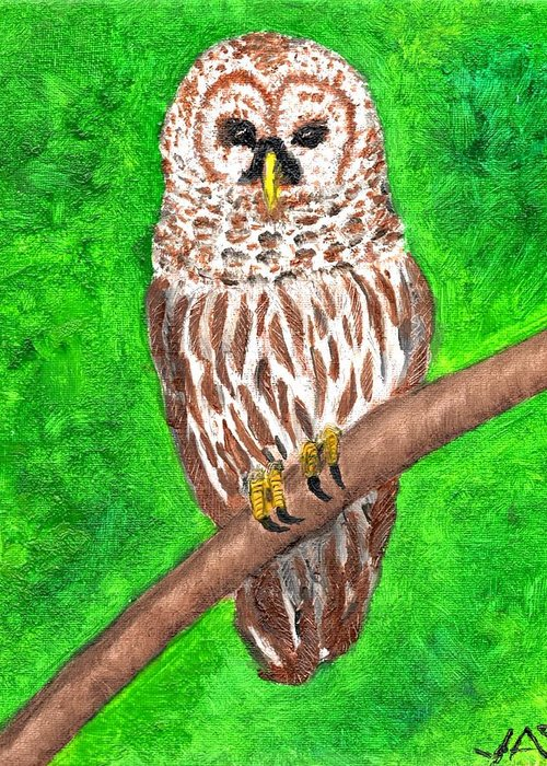 Owl Greeting Card featuring the painting Barred Owl 08-18-2015 by John Smith