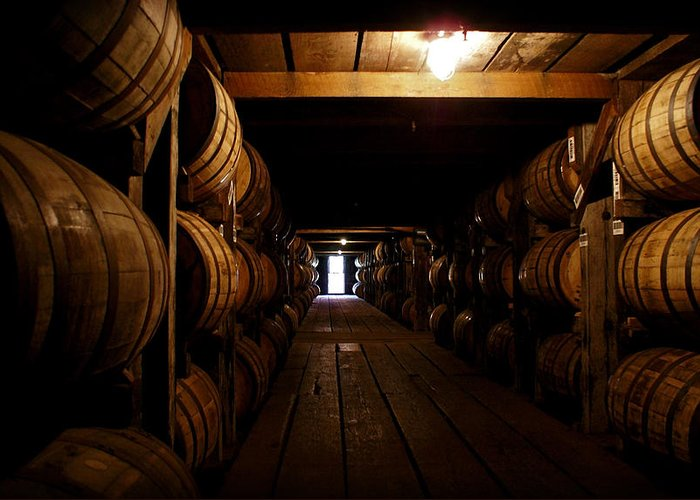 Buffalo Trace Distillery Greeting Card featuring the photograph Barrel Alley by Wayne Stacy