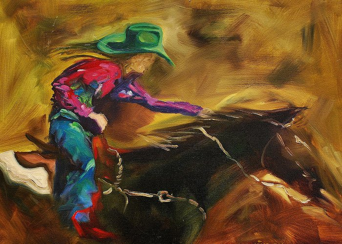 Western Art Greeting Card featuring the painting Barrel Racer by Diane Whitehead