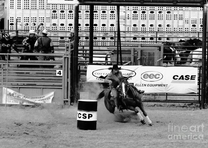 Rodeo Greeting Card featuring the photograph Barrel Racer by Susan Chandler