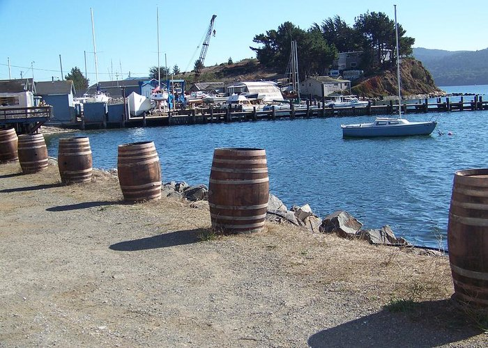 Waterscape Greeting Card featuring the photograph Barrels Of Grog by Maggie Cruser
