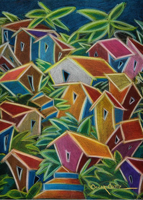 Landscape Greeting Card featuring the painting Barrio Lindo by Oscar Ortiz