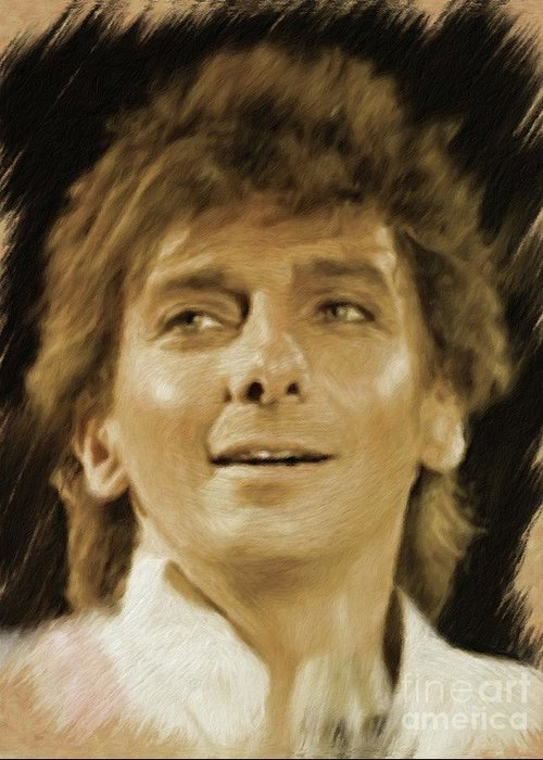 Barry Greeting Card featuring the painting Barry Manilow, Music Legend by Mary Bassett