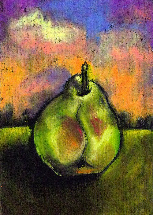 Still Life Greeting Card featuring the painting Bartlet In A Field by Angelina Marino