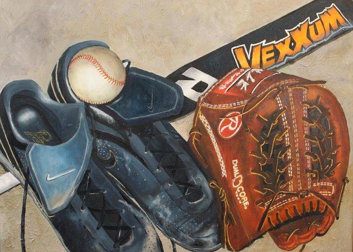 Baseball Greeting Card featuring the painting Baseball Allstar by Teri Vaughn