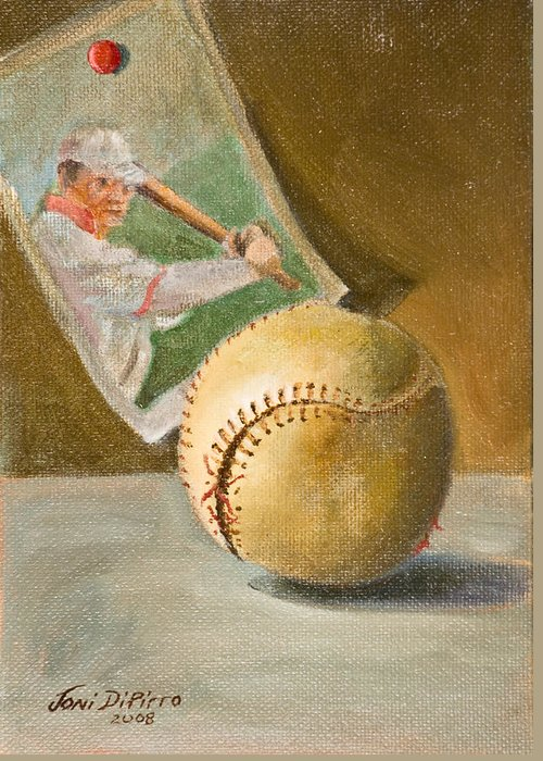 Sports Greeting Card featuring the painting Baseball And Card by Joni Dipirro