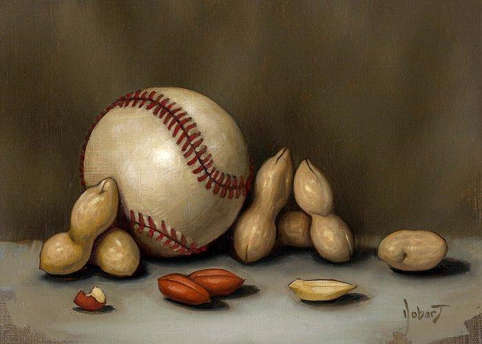 Baseball Greeting Card featuring the painting Baseball And Penuts by Clinton Hobart