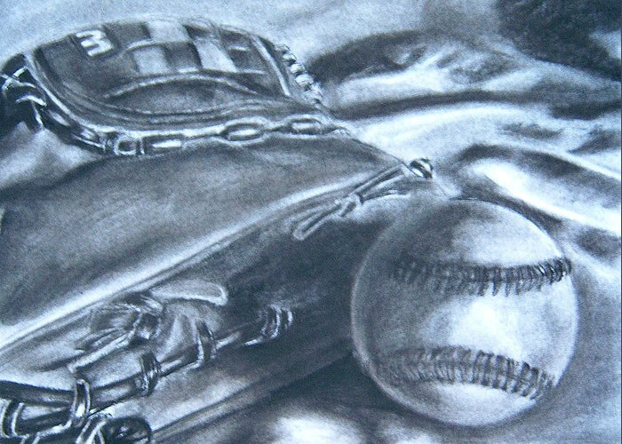 Baseball Greeting Card featuring the drawing Baseball by Ashlee Terras