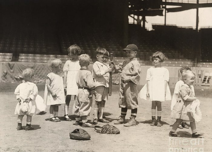 1910s Greeting Card featuring the photograph Baseball: Boys And Girls by Granger