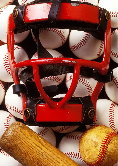 Catchers Mask Greeting Card featuring the photograph Baseball Catchers Mask And Balls by Garry Gay