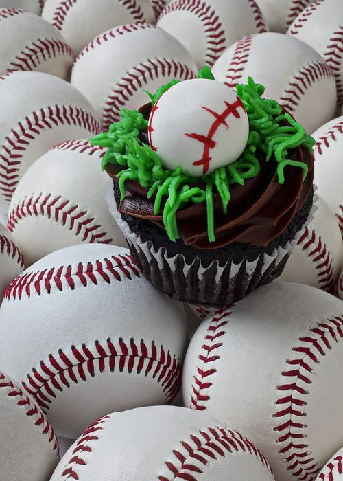 Baseball Greeting Card featuring the photograph Baseball Cupcake by Garry Gay