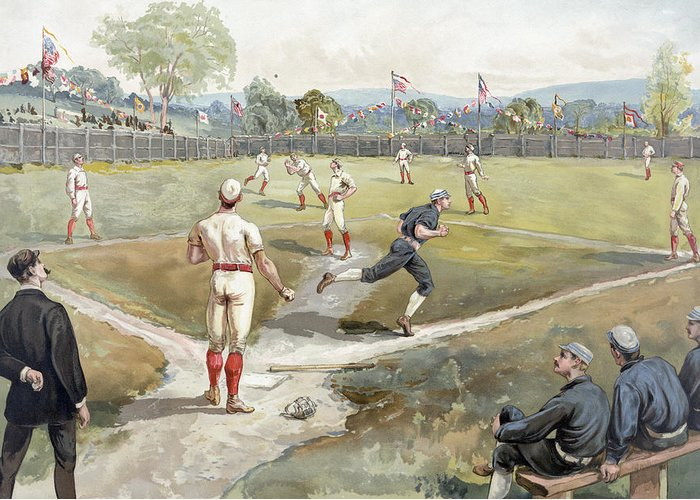 American Pastime Drawings Greeting Cards