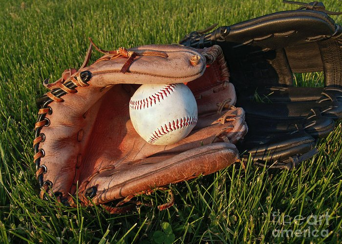 Baseball Greeting Card featuring the photograph Baseball Gloves After The Game by Anna Lisa Yoder