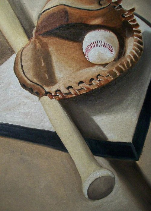 Baseball Greeting Card featuring the painting Baseball by Mikayla Ziegler