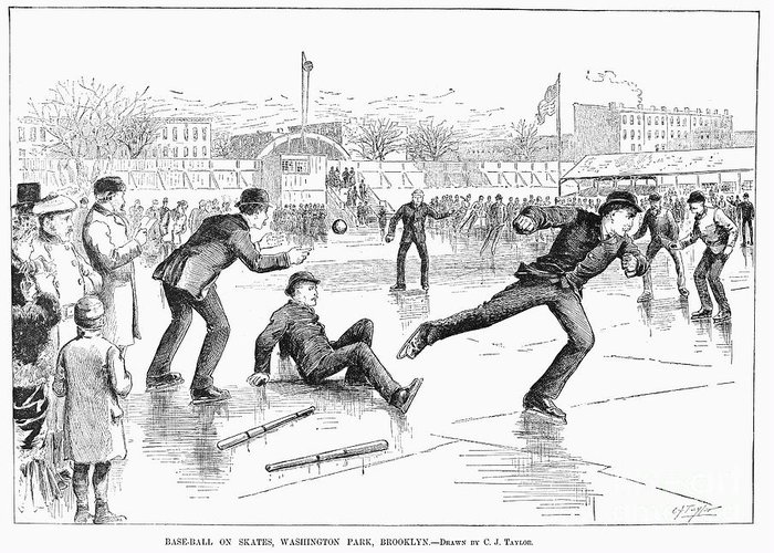 1884 Greeting Card featuring the photograph Baseball On Ice, 1884 by Granger