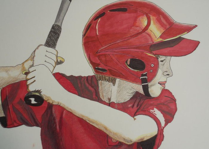 Baseball Greeting Card featuring the drawing Baseball Ready 2 by Michael Runner
