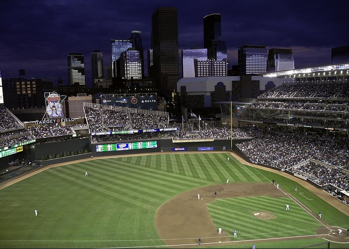 Baseball Greeting Card featuring the photograph Baseball Target Field by Paul Plaine