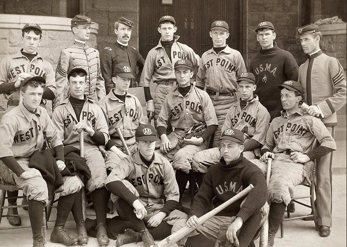 1896 Greeting Card featuring the photograph Baseball: West Point, 1896 by Granger