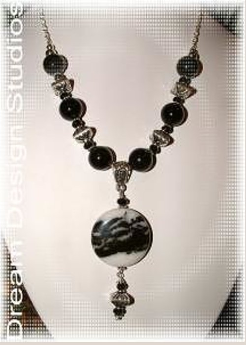 Custom Necklace For Actress Jordana Spiro Greeting Card featuring the jewelry Basic Black Attire by Donna Phitides