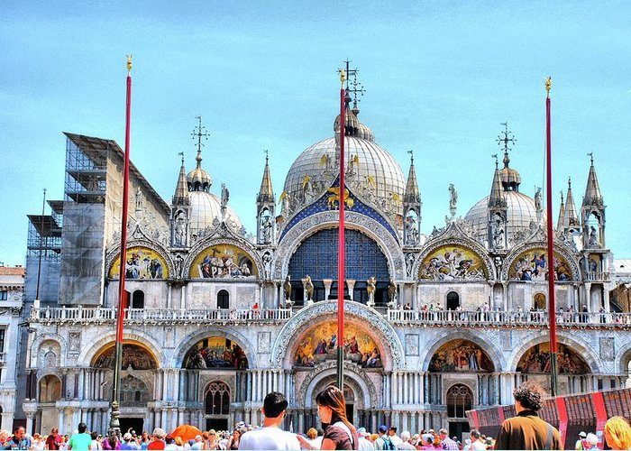 St. Mark's Basilica Greeting Card featuring the photograph Basilica Di San Marco by Sarah E Ethridge