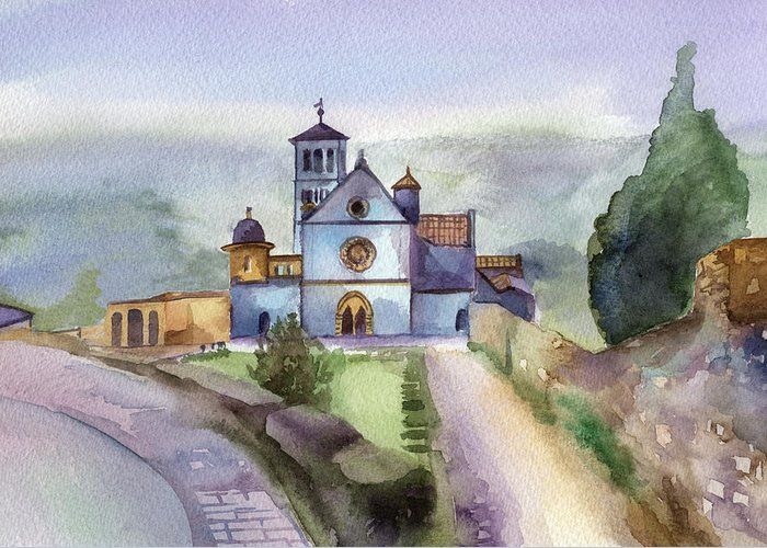 Watercolour Greeting Card featuring the painting Basilica Of St Francis Assisi by Lydia Irving