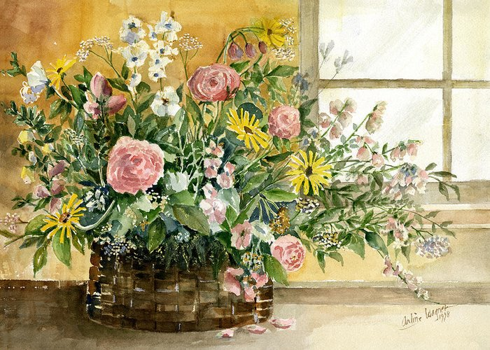 Basket Greeting Card featuring the painting Basket Bouquet by Arline Wagner