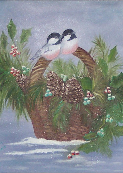 Nature Greeting Card featuring the painting Basket Of Pine by Judy Moses